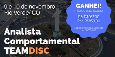 Formação Analista Comportamental TEAMDISC Profiler - Rio Verde/GO bilhetes