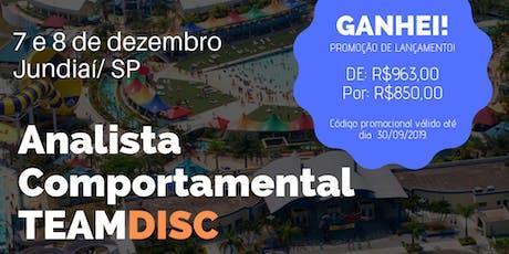 Formação Analista Comportamental TEAMDISC Profiler - Jundiaí/SP bilhetes
