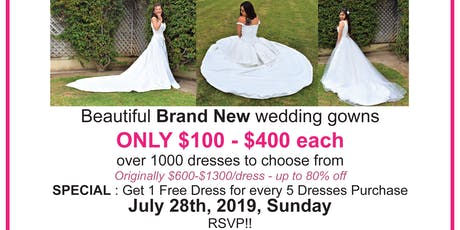 Wedding Dress Clearance Sale Pop Up - $100-$400/ea Brand New - Monique Luo tickets