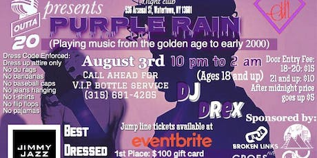 1outta20 presents Purple Rain Jump Line Tickets at Shakers Bar tickets