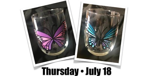 Thursday Night Butterfly Wine Glass Paint Night!