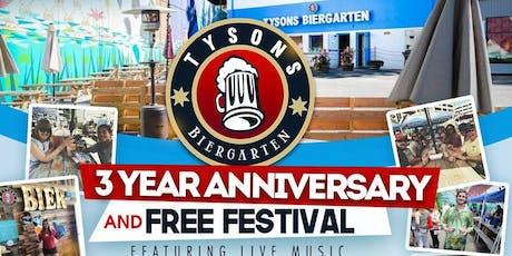 Tysons Biergarten 3 year Anniversary & Free Festival tickets