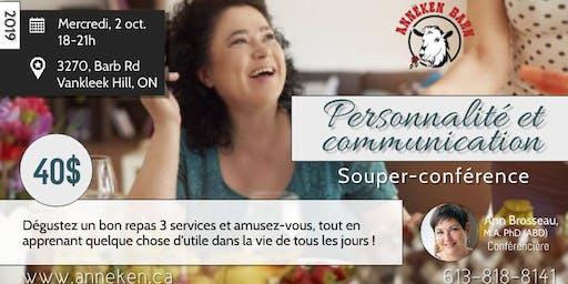 """Souper-conférence """"Personnalité et communication"""""""