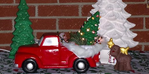 Adult paint class ceramic truck with removeable christmas tree