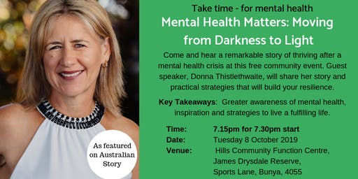 Mental Health Matters: Moving from Darkness to Light