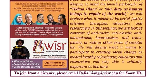 Therapy and Social Justice | Marriage & Family Therapy Seminar | Free Event