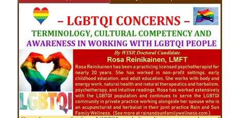 Working with LGBTQI People–Terminology, Cultural Competency & Awareness tickets