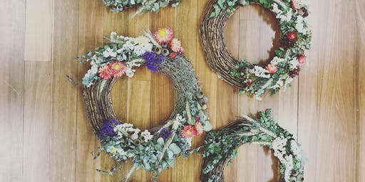 Everlasting Australian Native flower Christmas Wreath Workshop, Sydney