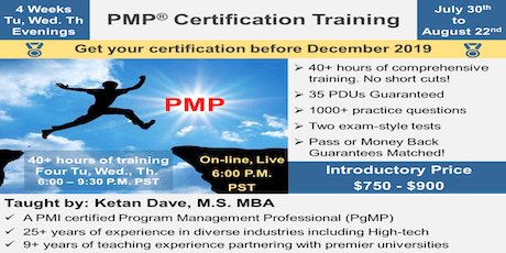 PMP Certification Training, On-Line, Live, Weekday Evenings, 6:00 P.M. PST tickets