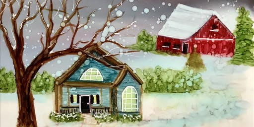 Alcohol Ink Workshop - Winter scene with cottage and barn
