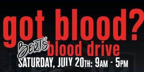 Bert's Summer Blood Drive tickets