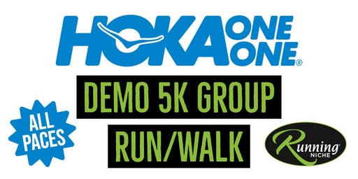 Hoka One One Running Demo 5k Group at Running Niche in the Grove STL