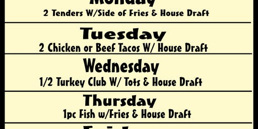Daily Lunch Specials @ Growler