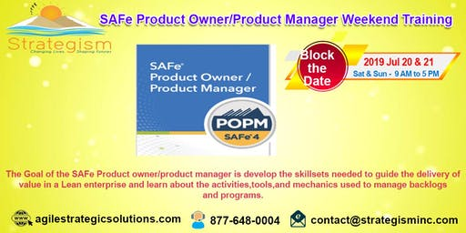 SAFe® Product Owner/Product Manager weekend Training in Fremont-July 20,21-2019