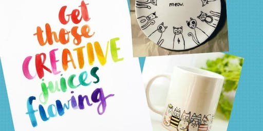 Crafting with Cats - Plate & Mug