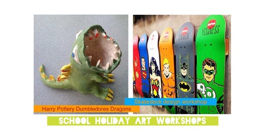 Winter School Holiday Kids Art Workshops - Dumbledores Dragons & Design your own Skate deck