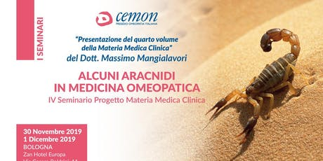 BOLOGNA - ALCUNI ARACNIDI IN MEDICINA OMEOPATICA - Dott. Massimo Mangialavori biglietti