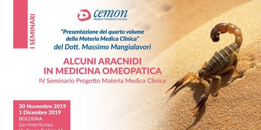 BOLOGNA - ALCUNI ARACNIDI IN MEDICINA OMEOPATICA - Dott. Massimo Mangialavori