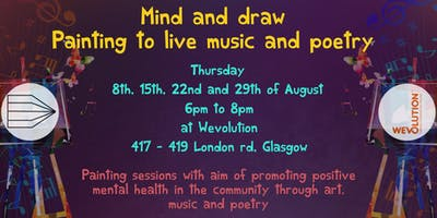 Mind and draw painting to live music and poetry
