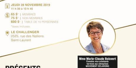 Lunch conférence Marie-Claude Boisvert - Desjardins tickets