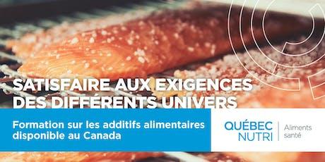 Formation sur les additifs alimentaires disponibles au Canada billets