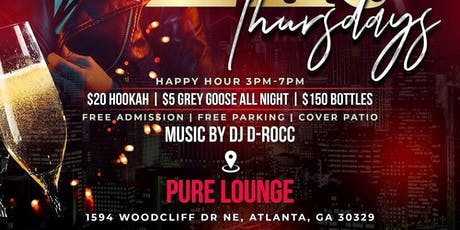 ATL's #1 THRUSDAY NIGHT Celebrity Event!  THERAPY THURSDAYS!. Every THURSDAY @ PURE! All new upscale LOUNGE! -FREE Entry - FREE Parking - $7 Drinks & $20 Hookas all night! RSVP NOW (SWIRL) tickets
