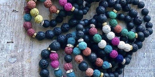 Macrame earrings and lava bead bracelets