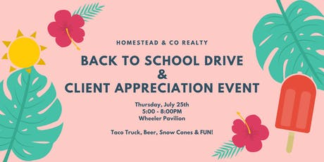 Back to School Drive - Homestead & Co Client Appreciation tickets