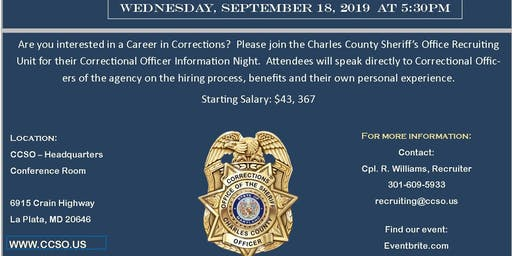 Charles County Sheriff Correctional Information Night