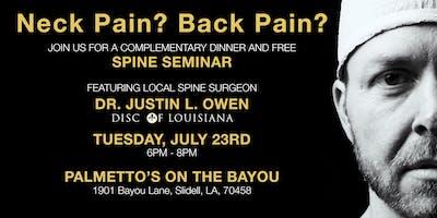Free Spine Seminar - Justin L. Owen, MD