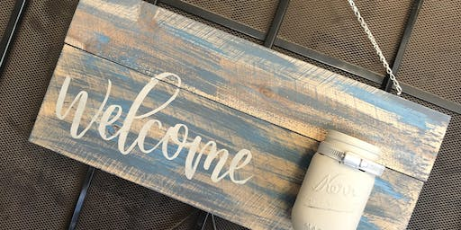 Welcome Door Hanger with mason jar for flowers