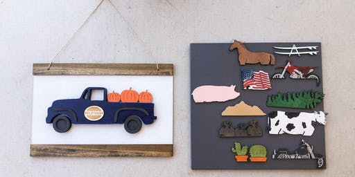 Interchangeable Vintage Truck Door Hanger Sign - You pick your cutouts
