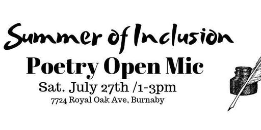 Summer of Inclusion - Poetry Open Mic