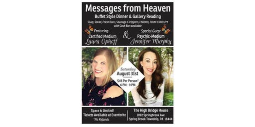 Messages from Heaven Dinner/Gallery Event ft. Certified Medium Laura Ophoff
