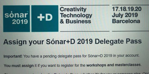 Sonar+D Full Delegate Pass selling 17-20 july