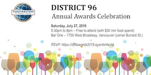 District 96 Toastmasters Awards Evening