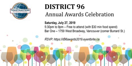 District 96 Toastmasters Awards Evening tickets
