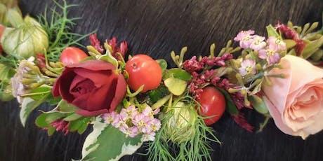 Fall Floral Head Wreath Design Class tickets