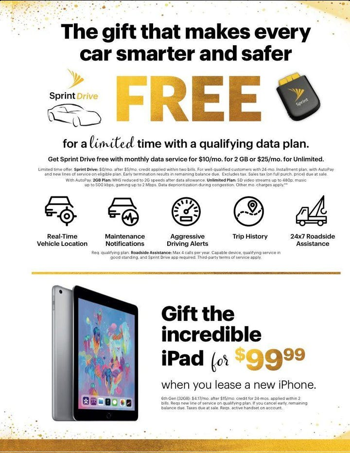 Sprint's Apple BOGO Special (Buy One Get One FREE) - 9 JUL 2019