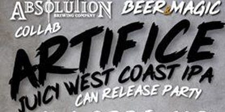 Beer and Magic and Absolution Brewery: Artifice IPA Can Release Party tickets