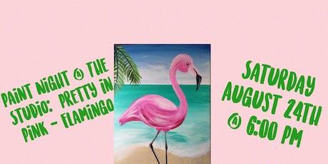 "Paint Night @ The Studio:  ""Flamingo "" artwork on an 11x14 Canvas tickets"