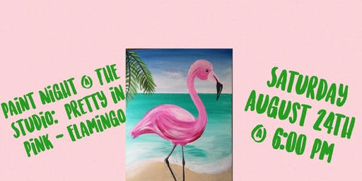 "Paint Night @ The Studio:  ""Flamingo "" artwork on an 11x14 Canvas"