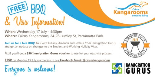 Cairns Kangarooms & Immigration Gurus FREE BBQ