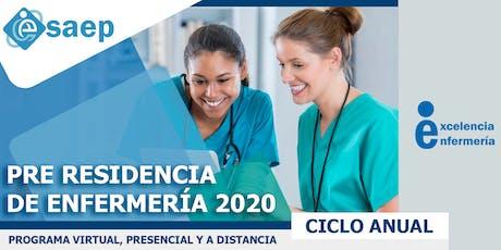 PRE RESIDENCIA ENFERMERÍA 2020 - CICLO ANUAL.  entradas