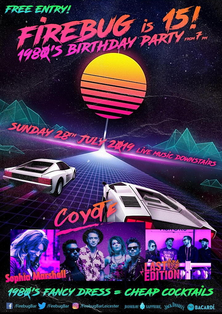 FREE  cocktail at Firebug's 15th Birthday Party Sunday 28/7/19 Entry! image