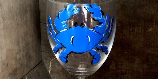 Paint & Sip Blue Crab Wine Glass