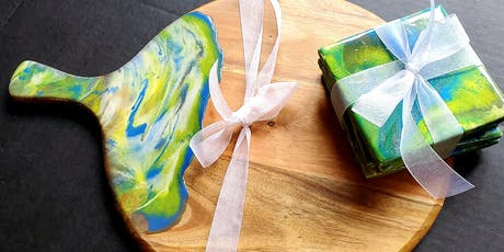 Resin Cheeseboard/coasters  $45.00 tickets