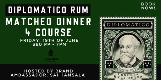 Diplomatico Rum 4 Course Dinner Matched