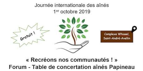 Forum - Journée internationale des aînés : Recréons nos communautés ! tickets