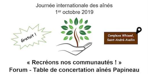 Forum - Journée internationale des aînés : Recréons nos communautés !